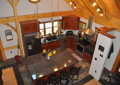 Aerial view of a well lit kitchen