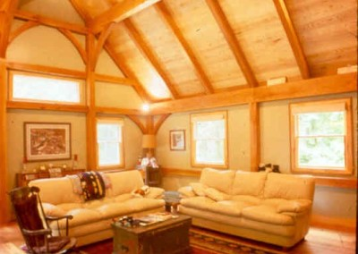 Believe it or not this great room in Warwick NY boasts a cherry wood frame and spalted ash board ceiling