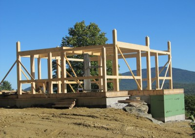 First floor framed up of an off-grid home in Mt. Holly, Vermont