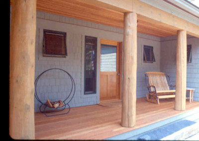 Logs were used as posts for this porch