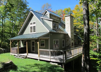 Our standard plan, The Sugarhouse, showcases porches, decks,dormers, and cupola to top it all off.