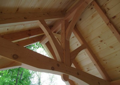 Pool house entry in Douglas fir