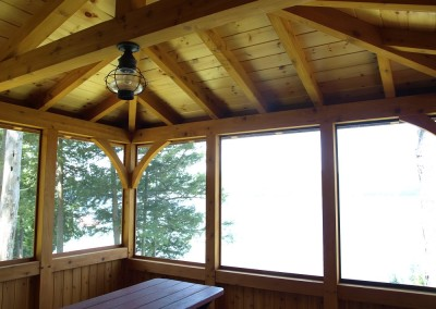 Screened porch interior on Lake Champlain