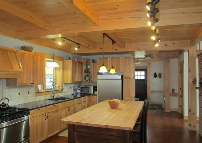The rustic butcher-block island is a nice touch