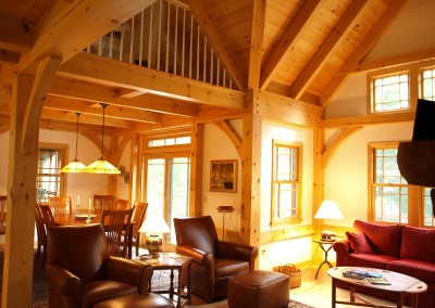 Timber frame valleys were needed to make the dramatic and open look in this great room
