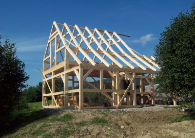 We are almost done with this timber frame and then we'll start the 1 x 8 pine boards for the roof.