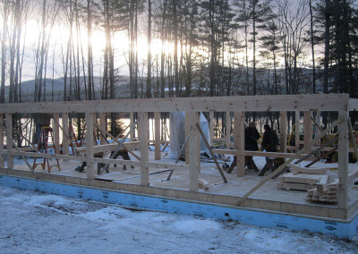 Sunset on the timber frame