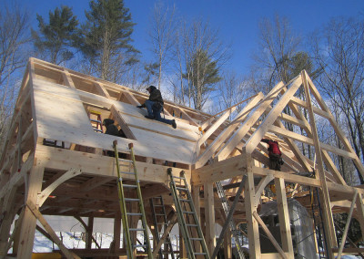 Sheathing the timber frame roof