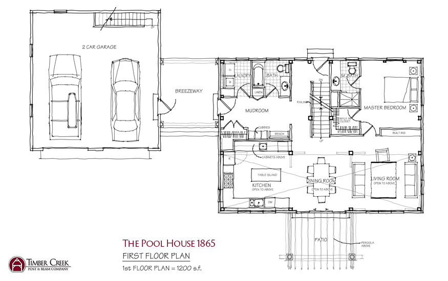 The Pool House 1865 First Floor Plan