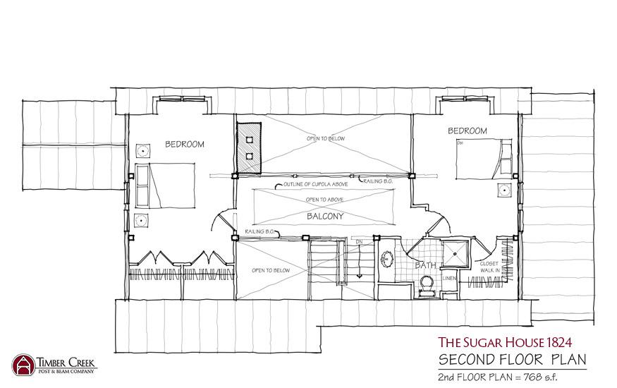 The Sugar House 1824 Second Floor Plan