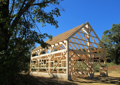 A finished timber frame is always a marvel to gaze upon, especially on a day like this.