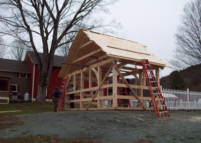 Although technically not a barn, this pool house frame shows the versatility and charm of timber framing.