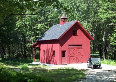 For this barn the owners selected a classic red stain. Looks great along with cupola,windows just the right size, and transom over swinging doors.