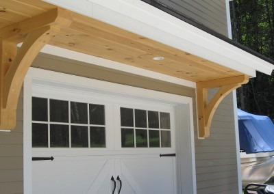 Garage overhang in St. George, Vermont