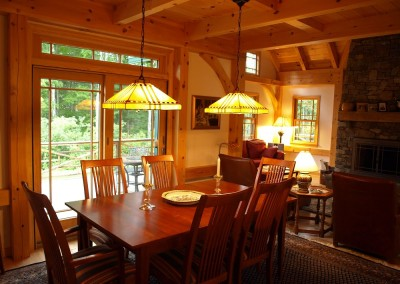The adirondack style lamps really add to the ambiance