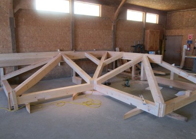 Preassembling a hip roof in our shop