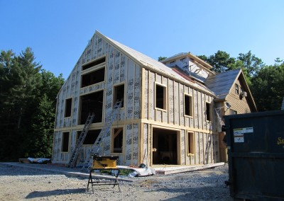 The walls are strapped vertically  to accept horizontal siding