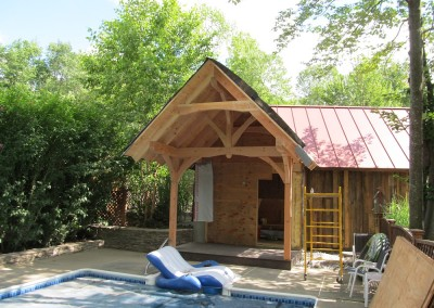 Timber entry to the pool house
