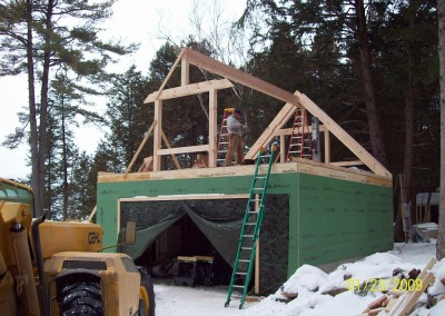 Timber framing over a garage