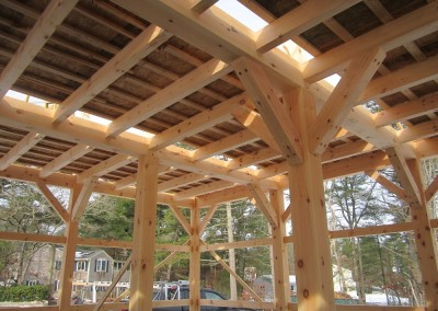 With a barn this large, we'll incorporate large knee braces to insure a solid frame for generations. You can see a temporary floor system so we can work the second floor.