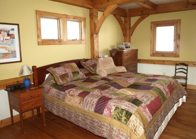 With paint choices to compliment the timber frame, this bedroom has a drywall finished ceiling.